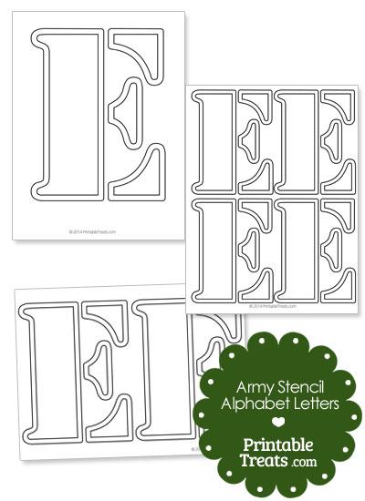 Army Stencil Outline Letter E from PrintableTreats.com