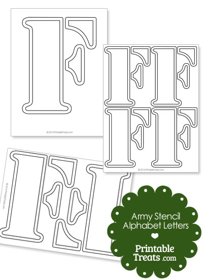Army Stencil Outline Letter F from PrintableTreats.com