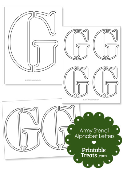 Army Stencil Outline Letter G from PrintableTreats.com