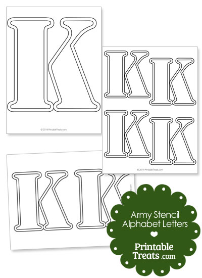 Army Stencil Outline Letter K from PrintableTreats.com