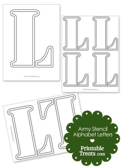 Army Stencil Outline Letter L from PrintableTreats.com