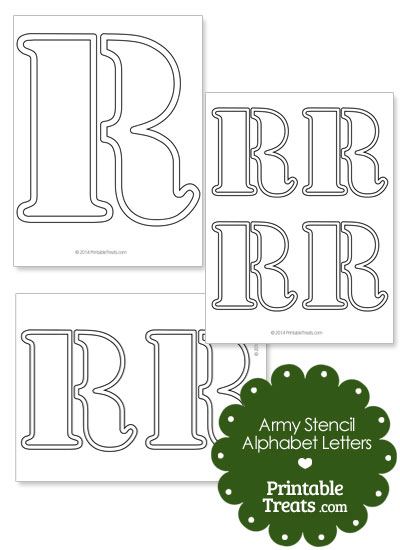 Army Stencil Outline Letter R from PrintableTreats.com
