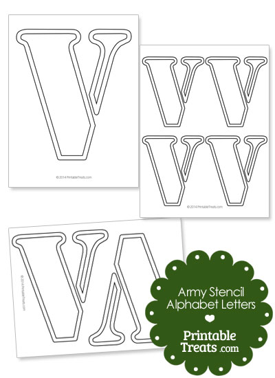 Army Stencil Outline Letter V from PrintableTreats.com