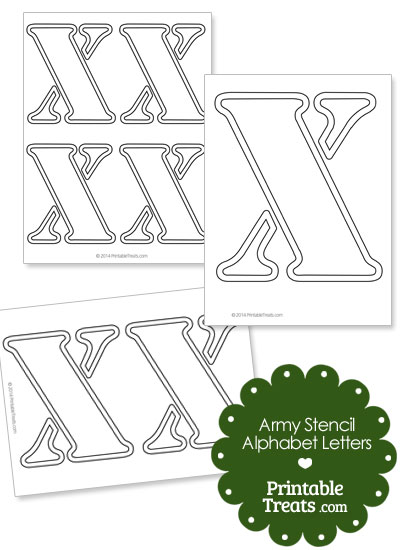 Army Stencil Outline Letter X from PrintableTreats.com