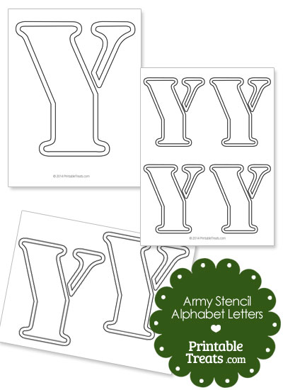 Army Stencil Outline Letter Y from PrintableTreats.com