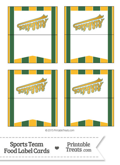 Athletics Food Label Buffet Cards from PrintableTreats.com