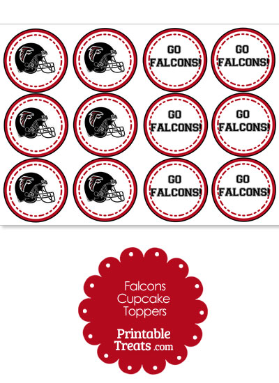 Atlanta Falcons Cupcake Toppers from PrintableTreats.com