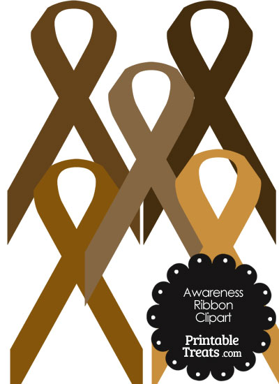 Awareness Ribbon Clipart in Shades of Brown from PrintableTreats.com