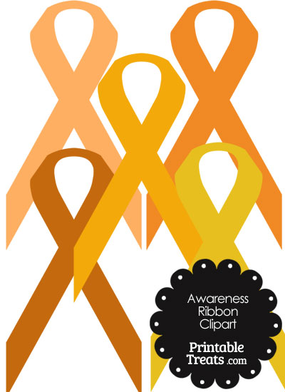 Awareness Ribbon Clipart in Shades of Orange from PrintableTreats.com