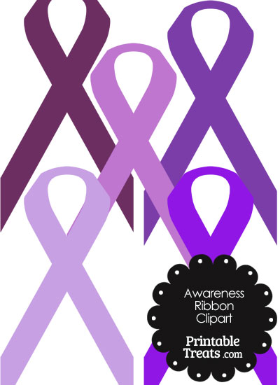 Awareness Ribbon Clipart in Shades of Purple from PrintableTreats.com
