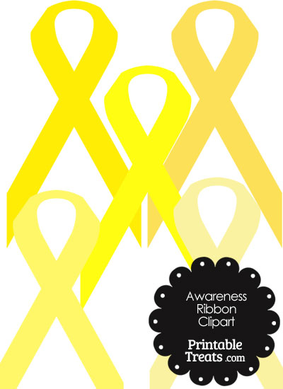 Awareness Ribbon Clipart in Shades of Yellow from PrintableTreats.com