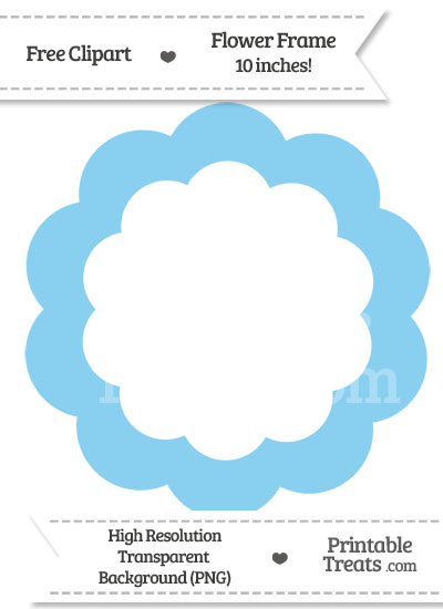 Baby Blue Flower Frame Clipart from PrintableTreats.com