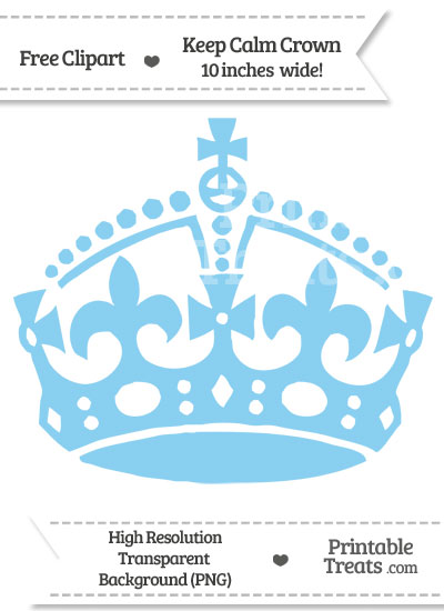 Baby Blue Keep Calm Crown Clipart from PrintableTreats.com