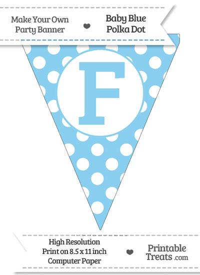 Baby Blue Polka Dot Pennant Flag Capital Letter F from PrintableTreats.com