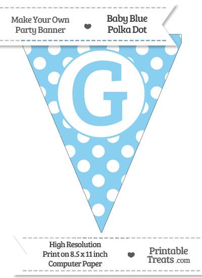 Baby Blue Polka Dot Pennant Flag Capital Letter G from PrintableTreats.com