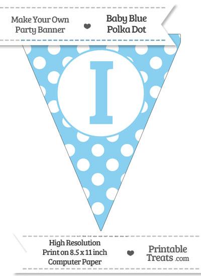 Baby Blue Polka Dot Pennant Flag Capital Letter I from PrintableTreats.com