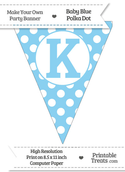 Baby Blue Polka Dot Pennant Flag Capital Letter K from PrintableTreats.com