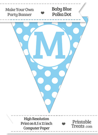 Baby Blue Polka Dot Pennant Flag Capital Letter M from PrintableTreats.com