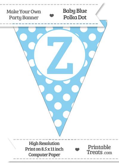 Baby Blue Polka Dot Pennant Flag Capital Letter Z from PrintableTreats.com