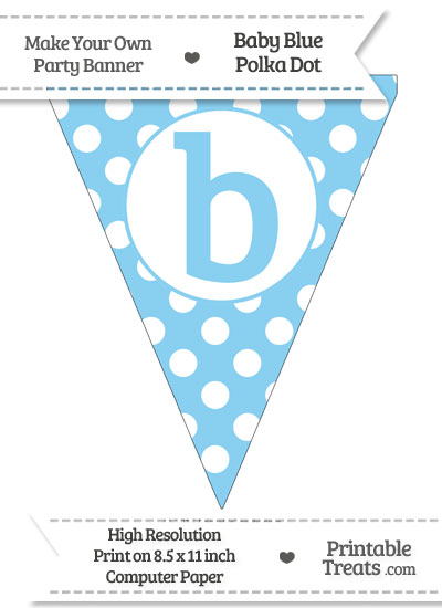 Baby Blue Polka Dot Pennant Flag Lowercase Letter B from PrintableTreats.com