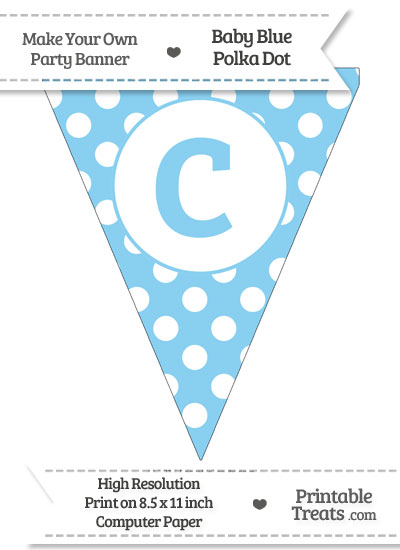 Baby Blue Polka Dot Pennant Flag Lowercase Letter C from PrintableTreats.com