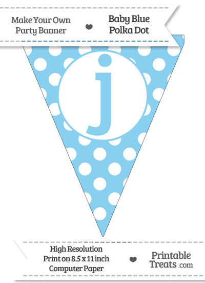 Baby Blue Polka Dot Pennant Flag Lowercase Letter J from PrintableTreats.com
