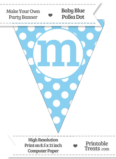 Baby Blue Polka Dot Pennant Flag Lowercase Letter M from PrintableTreats.com