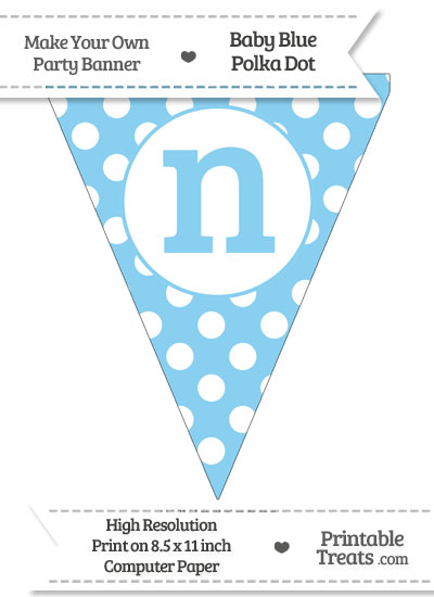 Baby Blue Polka Dot Pennant Flag Lowercase Letter N from PrintableTreats.com