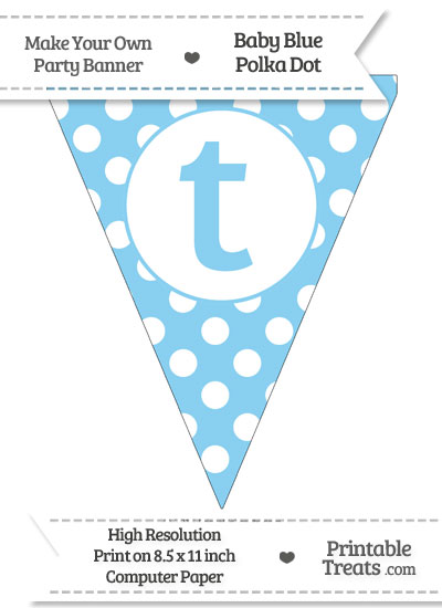 Baby Blue Polka Dot Pennant Flag Lowercase Letter T from PrintableTreats.com