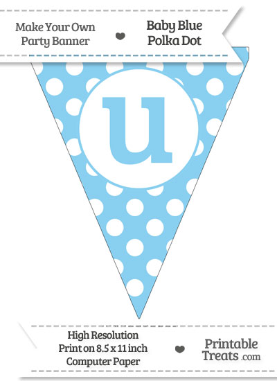 Baby Blue Polka Dot Pennant Flag Lowercase Letter U from PrintableTreats.com