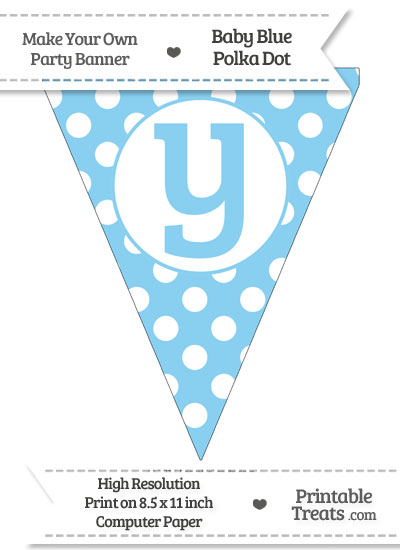 Baby Blue Polka Dot Pennant Flag Lowercase Letter Y from PrintableTreats.com