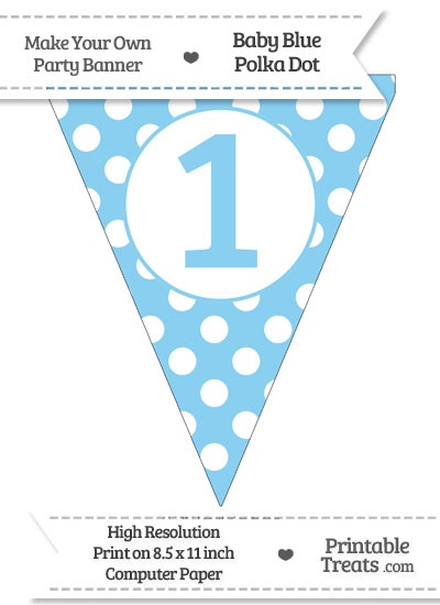 Baby Blue Polka Dot Pennant Flag Number 1 from PrintableTreats.com