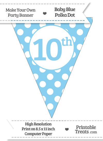 Baby Blue Polka Dot Pennant Flag Ordinal Number 10th from PrintableTreats.com