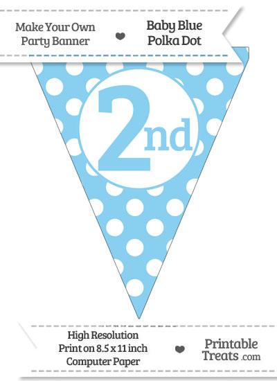 Baby Blue Polka Dot Pennant Flag Ordinal Number 2nd from PrintableTreats.com