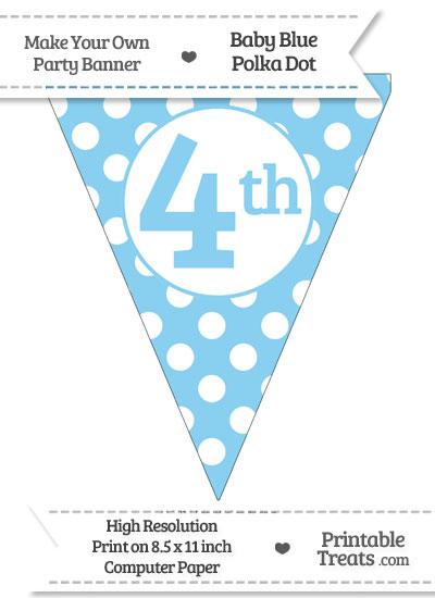 Baby Blue Polka Dot Pennant Flag Ordinal Number 4th from PrintableTreats.com