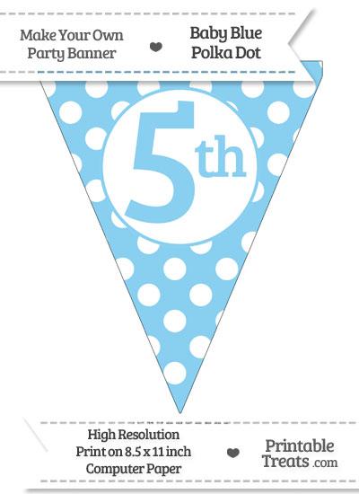 Baby Blue Polka Dot Pennant Flag Ordinal Number 5th from PrintableTreats.com