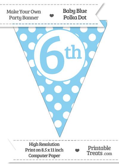 Baby Blue Polka Dot Pennant Flag Ordinal Number 6th from PrintableTreats.com