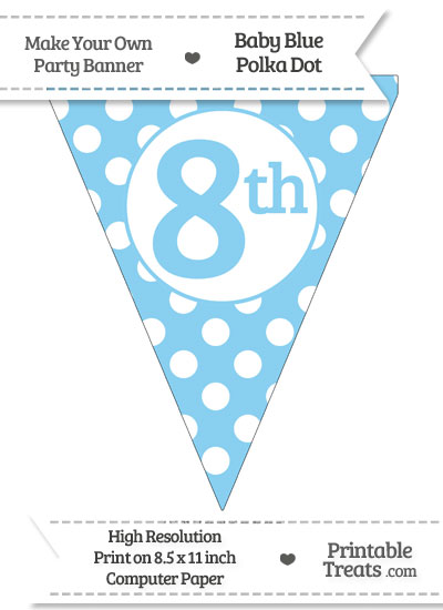 Baby Blue Polka Dot Pennant Flag Ordinal Number 8th from PrintableTreats.com