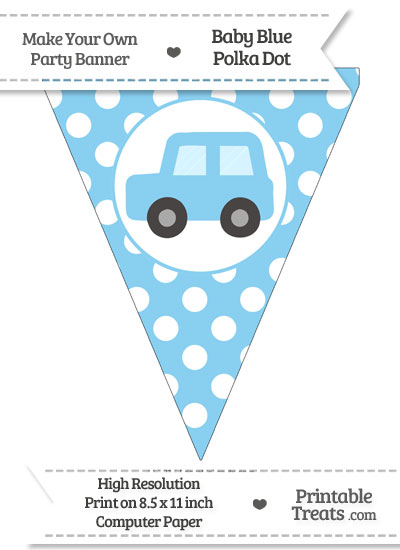 Baby Blue Polka Dot Pennant Flag with Car Facing Left from PrintableTreats.com