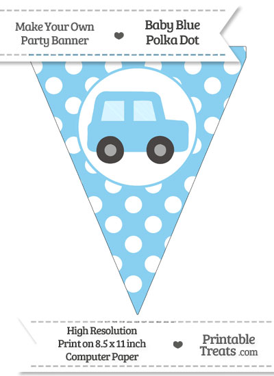 Baby Blue Polka Dot Pennant Flag with Car Facing Right from PrintableTreats.com