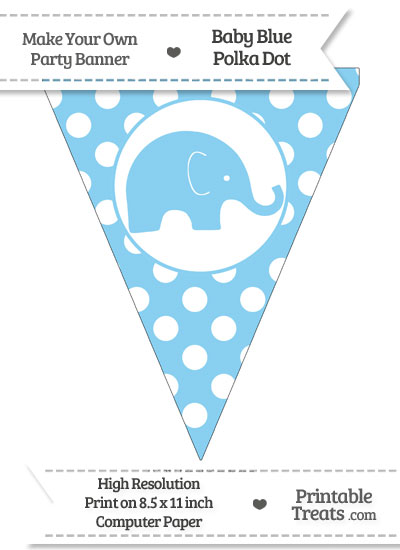 Baby Blue Polka Dot Pennant Flag with Elephant Facing Right from PrintableTreats.com