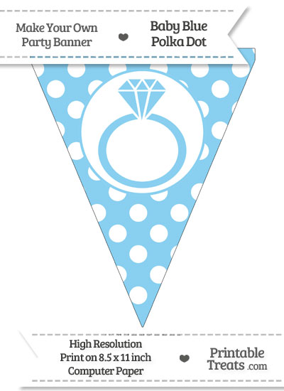 Baby Blue Polka Dot Pennant Flag with Engagement Ring from PrintableTreats.com