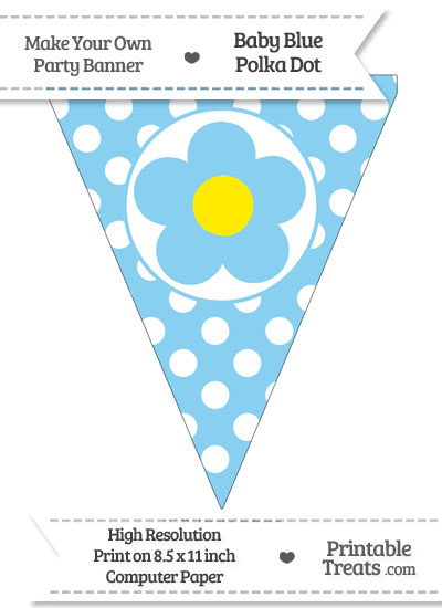 Baby Blue Polka Dot Pennant Flag with Flower from PrintableTreats.com