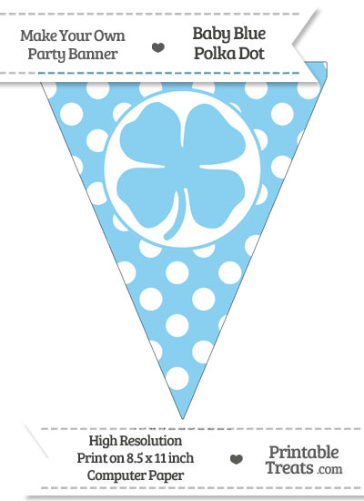 Baby Blue Polka Dot Pennant Flag with Four Leaf Clove Facing Right from PrintableTreats.com