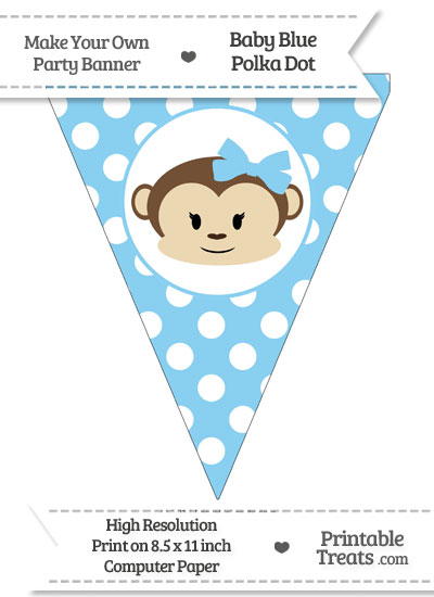 Baby Blue Polka Dot Pennant Flag with Girl Monkey from PrintableTreats.com