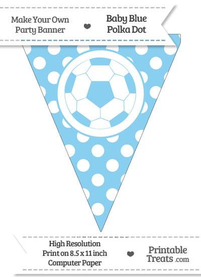 Baby Blue Polka Dot Pennant Flag with Soccer Ball from PrintableTreats.com