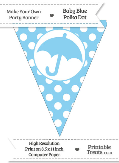 Baby Blue Polka Dot Pennant Flag with Umbrella from PrintableTreats.com