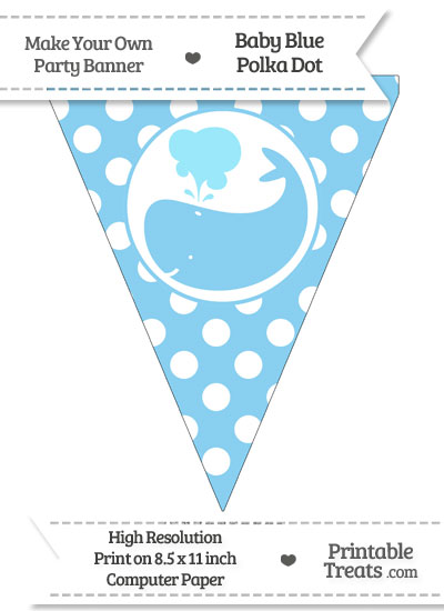 Baby Blue Polka Dot Pennant Flag with Whale Facing Left from PrintableTreats.com