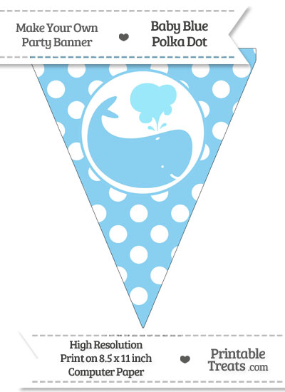 Baby Blue Polka Dot Pennant Flag with Whale Facing Right from PrintableTreats.com