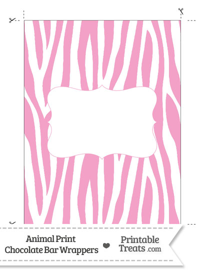 Baby Pink and White Zebra Print Chocolate Bar Wrappers from PrintableTreats.com